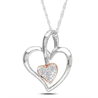 M by Miadora 10k Two-tone Gold Diamond Accent Heart Necklace