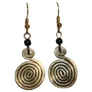 Brass Swirl and Black Glass Bead Earrings (Kenya)