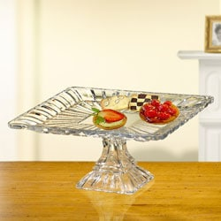 Crystal Clear Alexandria 11-inch Square Pedestal Plate