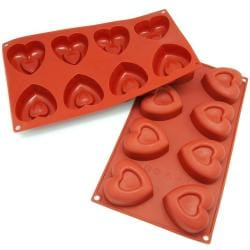 Freshware 8-cavity Heart Silicone Mold/ Baking Pans (Pack of 2)