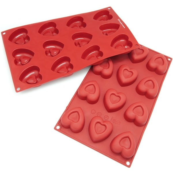 Freshware 12-cavity Heart Silicone Mold/ Baking Pans (Pack of 2)
