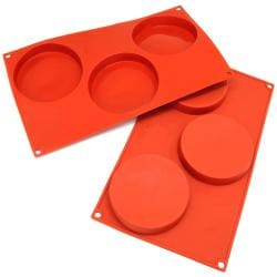 Freshware 3-cavity Disc Cake Silicone Mold/ Baking Pans (Pack of 2)