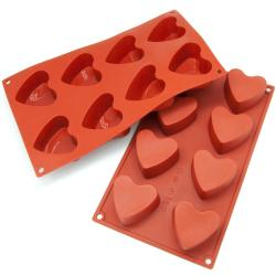 Freshware 8-cavity Heart Muffin Silicone Mold/ Baking Pans (Pack of 2)