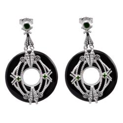 Michael Valitutti Two-tone Black Onyx and Chrome Diopside Earrings