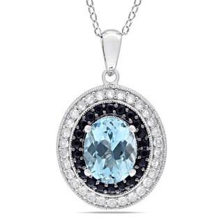 Miadora Sterling Silver Sky Blue Topaz and Black/ White Sapphire Necklace