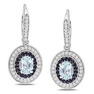 Miadora Sterling Silver Sky Blue Topaz and Black/ White Sapphire Earrings