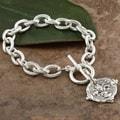 Hand-cast Silverplated Fleur De Lis Intaglio Bracelet