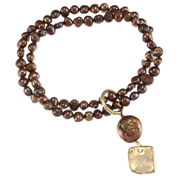 Goldplated Cocoa Freshwater Pearl Stretch Bracelet (6 mm) (USA)