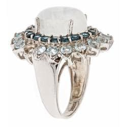 D'Yach Sterling Silver Blue Topaz and Moonstone Ring