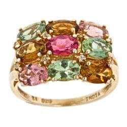 D'Yach Sterling Silver with 18 k Gold vermeil Multi-colored Tourmaline Ring accentuated with 8 White Natural Zircons