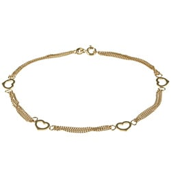 Sterling Essentials 14K Gold over Silver Open Hearts Anklet