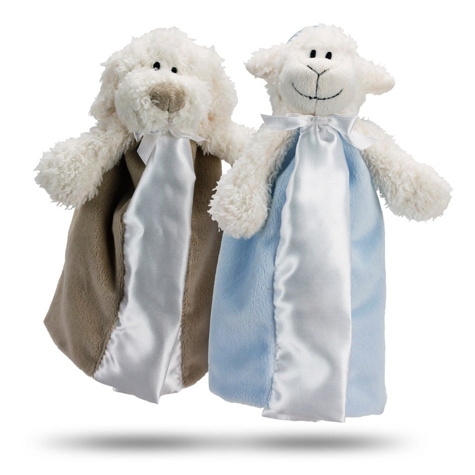 My First Friend Blue and Brown Plush Pacifier Blanket Set