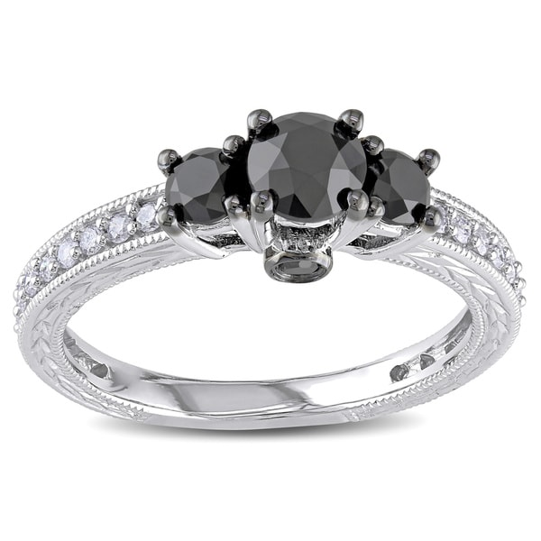 Miadora 10k White Gold 1 1/4ct TDW Black and White Diamond 3-Stone Plus Ring (G-H, I2-I3)