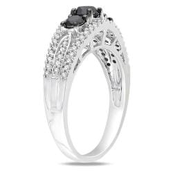 Miadora 10k White Gold 1ct TDW Black and White Diamond 3-stone Ring (G-H, I2-I3)