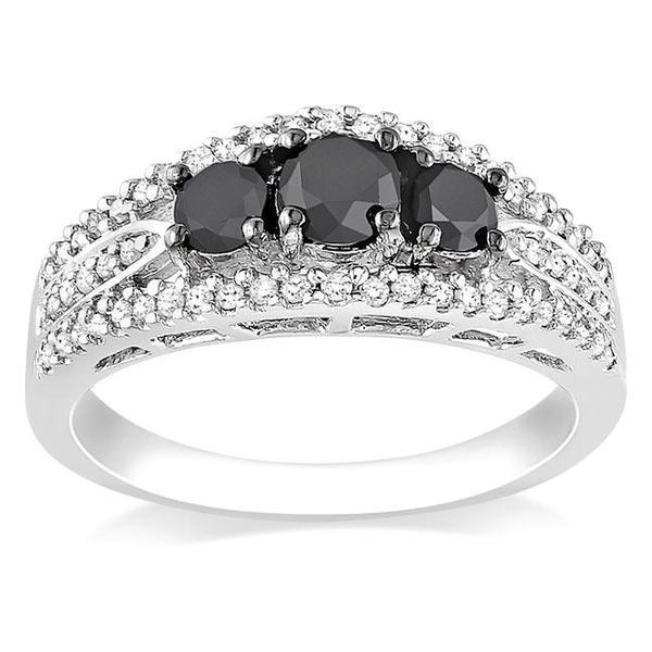 Miadora 10k White Gold 1ct TDW Black and White Diamond 3-stone Ring (G-H, I2-I3)