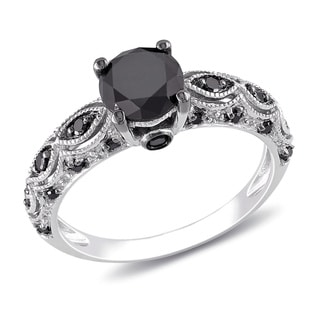 Miadora 10k White Gold 1 1/4ct TDW Black Diamond Ring