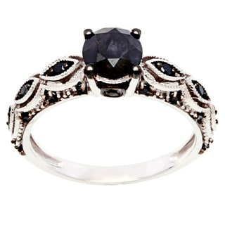 Miadora 10k White Gold 1 1/4ct TDW Round Black Diamond Ring