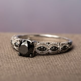 Miadora 10k White Gold 1 1/4ct TDW Round Black Diamond Ring with Bonus Earrings