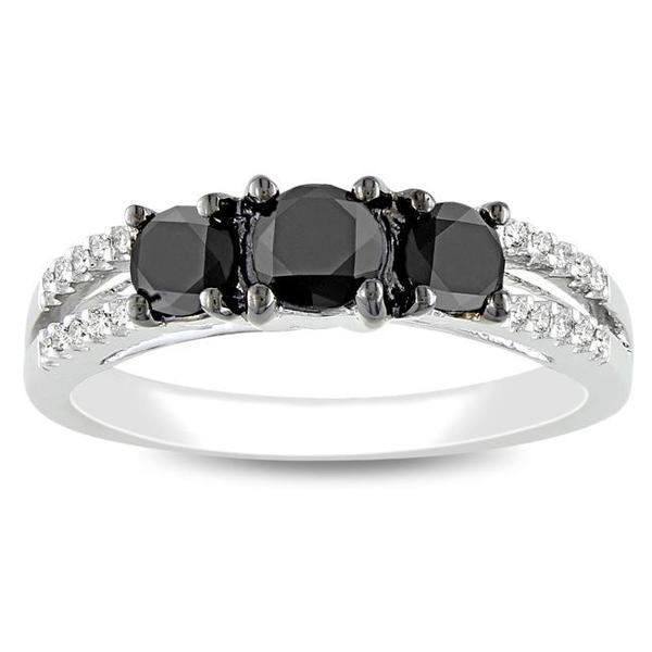 Miadora 14k White Gold 1ct TDW Black and White Diamond 3-stone Ring (G-H, I2-I3)