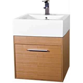 Glamour 20-inch Wood Light Maple/ White Bathroom Vanity