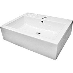 Ceramic White Rectangular Bathroom Vessel Sink
