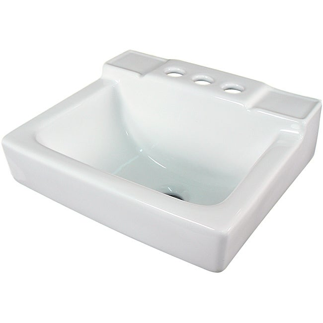 Somette Ceramic 14-inch Small White Wallmount Sink