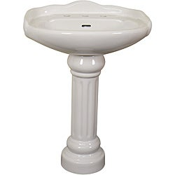 Ceramic 22-inch White Pedestal Sink
