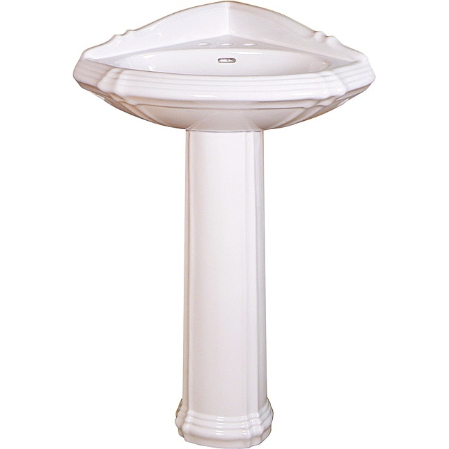 Somette Ceramic 24.75-inch White Corner Pedestal Sink