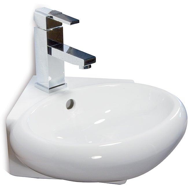 Somette Ceramic 14.5-inch Corner White Wallmount Sink - Overstock ...