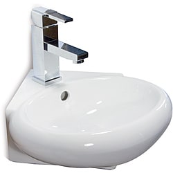 Ceramic 14.5-inch Corner White Wallmount Sink