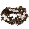 DaVonna White Baroque FW Pearls and Tiger Eye 5 Stretch Bracelets Set (7-8 mm)