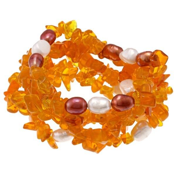 DaVonna Baroque FW Pearls and Orange Coral 5 Stretch Bracelets Set (7-8 mm)