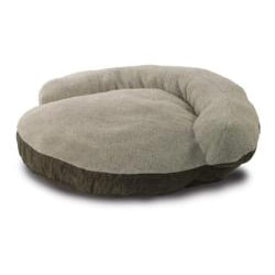 Medium Round 42-inch Green Microsuede Bolster Sherpa Dog Bed
