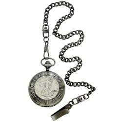 August Steiner Men's Walking Liberty Half Dollar Antique Silver Pocket Watch