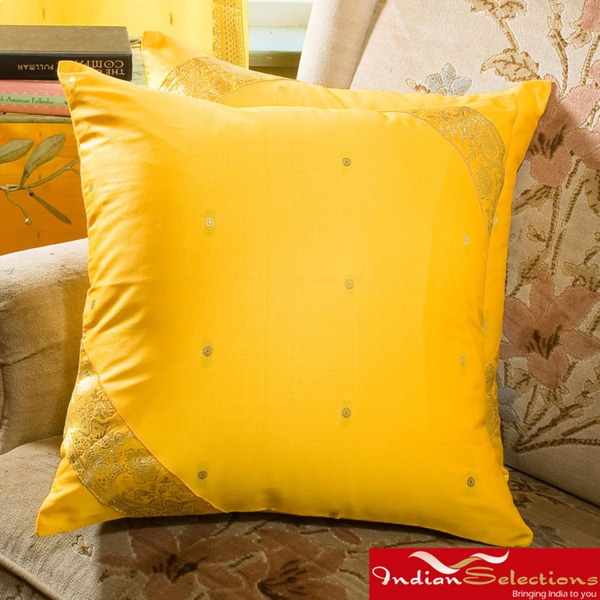 Set of Two Handmade Sari Yellow Decorative Pillow Covers (India)