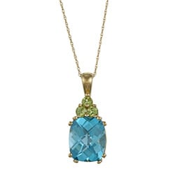 14k Blue Topaz and Peridot Necklace