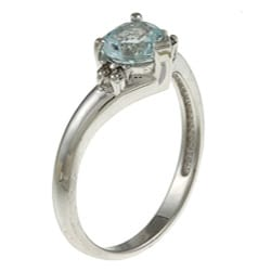 14k White Gold Aquamarine and Diamond Accent Ring (J-K, I1-I2)