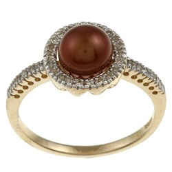 10k Yellow Gold Brown Pearl and 1/5ct TDW Diamond Ring (K-L, I1-I2)