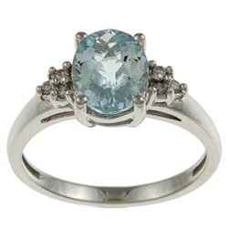 14k White Gold Aquamarine and Diamond Accent Ring (K-L, I1-I2)+