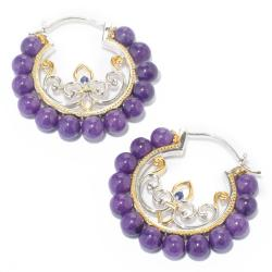 Michael Valitutti Two-tone Purple Jade and Blue Sapphire Earrings