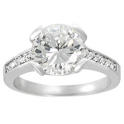 Tressa Collection Silvertone Pave-set Round-cut Cubic Zirconia Ring