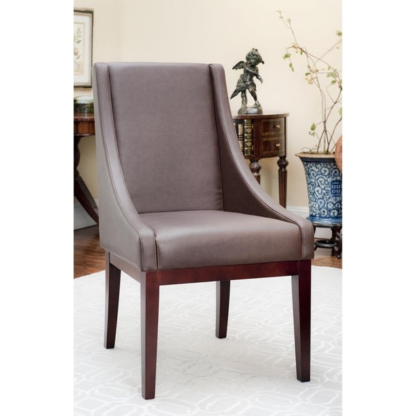 Safavieh En Vogue Dining Sloping Arm Brown Leather Chair