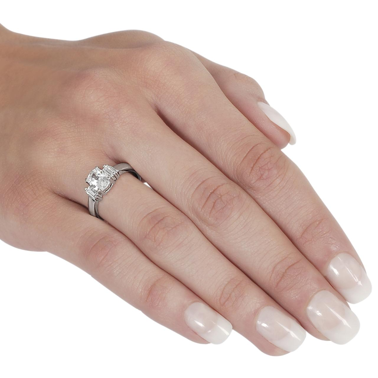 Tressa Collection Silvertone Oval & Baquette CZ Bridal Engagement Ring