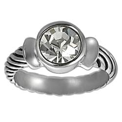 Journee Collection Silvertone Bezel-set Round-cut CZ Twist Ring