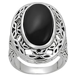 Silvertone Oval-cut Created Black Agate Ornate Ring