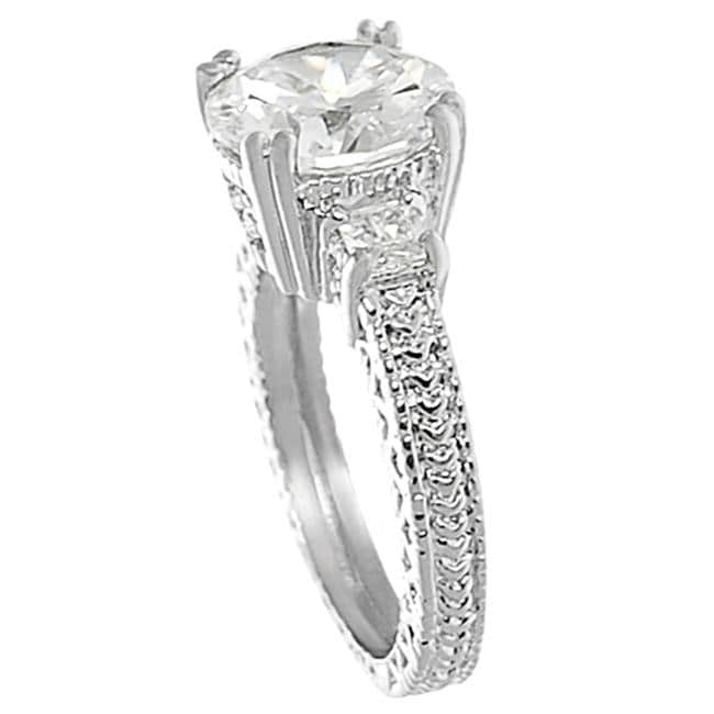 Tressa Collection Silvertone Brass Round CZ Bridal & Engagement Ring