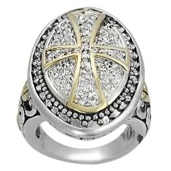 Journee Collection Silvertone and Goldtone Pave-set CZ Cross Ring