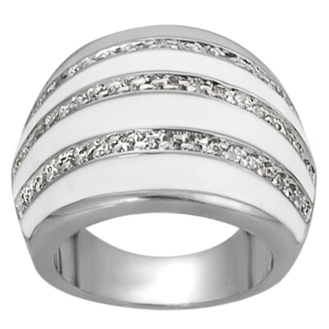 Journee Collection Silvertone Pave-set CZ White Epoxy Stripe Dome Ring