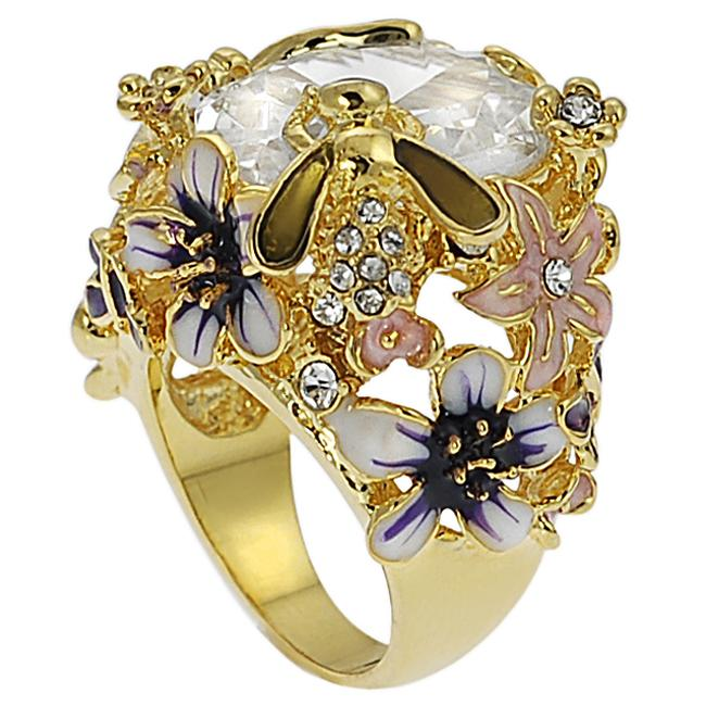 Goldtone Cubic Zirconia Flower, Dragonfly and Bee Cocktail Ring