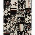 Hand-Tufted Mandara White/Black Floral Wool Rug (6' x 9')